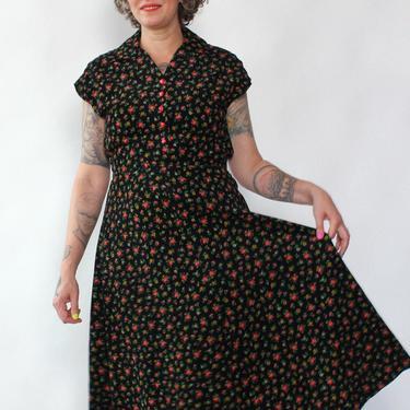 Folk Floral Corduory Dress M/L