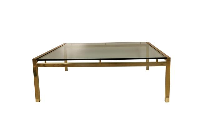 Mid Century Brass Glass Coffee Table by Marykaysfurniture