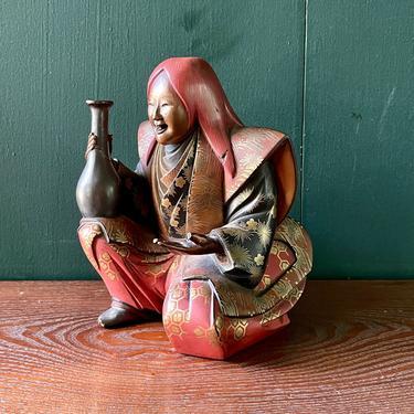 Antique Carved Lacquer Japanese Wood Figure Vintage Netsuke Samurai Kimono Nobleman Royalty by BrainWashington