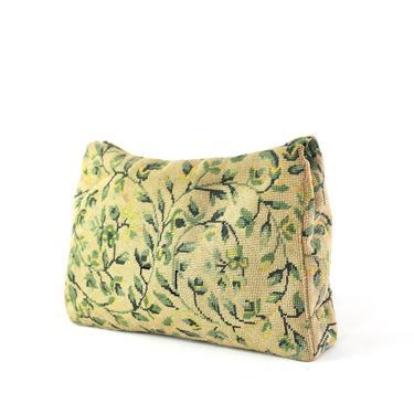 1930s Needlepoint Clutch - 1930s Green Clutch - 1930s Clutch Purse - 1930s Floral Handbag - 1930s Green Handbag - 30s Springtime Clutch Bag by VeraciousVintageCo