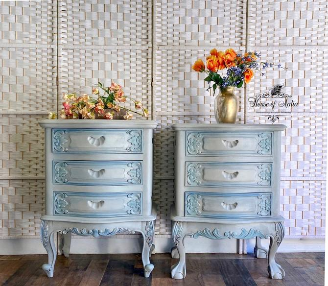 Old World Finish Nightstands. French Blue Gray Nightstands. His and Hers Tables. Carved Vintage Bedside Tables.  Pair of Gray Nightstands. by HouseofAalia