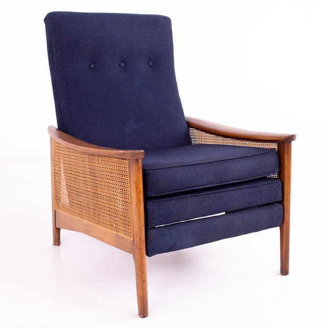 Milo Baughman Mid Century Walnut and Caned Reclining Lounge Chair - mcm by ModernHill