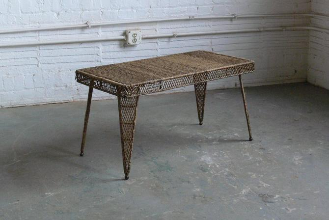 Vintage Franco Albini Inspired Wicker and Wire Rod Bench // Coffee Table by CoMod