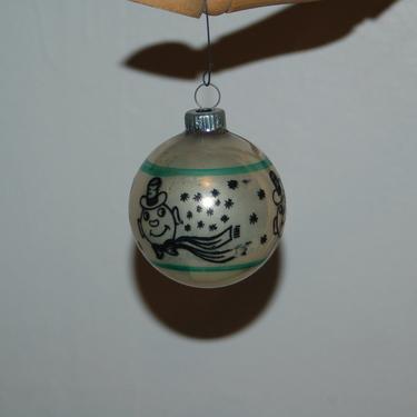Vintage Shiny Brite Mercury Glass White, Green & Black Stenciled Snowman Christmas Ornament EUC ~ One Stenciled Christmas Ornaments ~ 1950's by YesterdayAndTomorrow