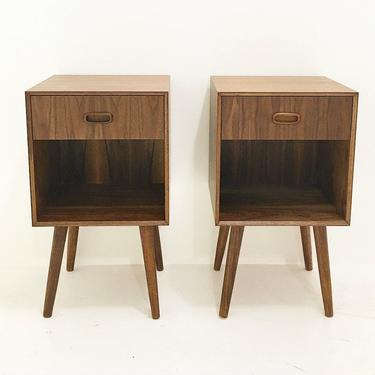 Pair of Walnut Nightstands- Single Drawer by CaliforniaMWoodworks