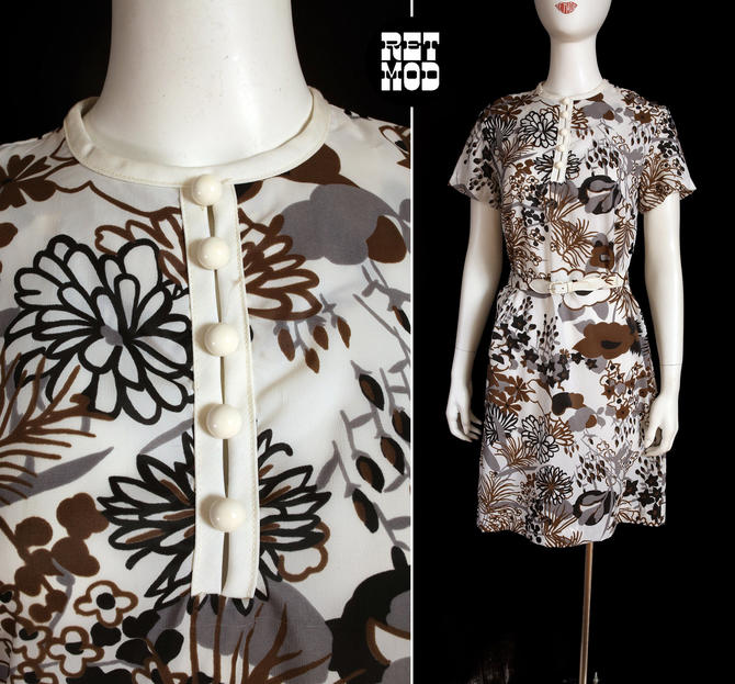 Groovy Vintage 60s 70s White Brown Flower Power Shift Dress by RETMOD