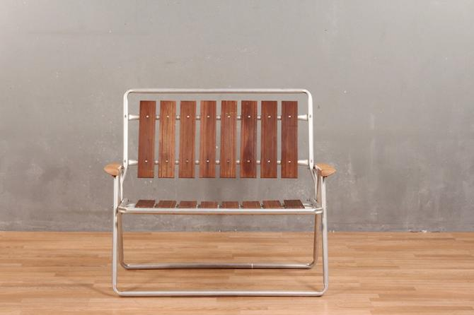 Retro Aluminum & Wood Folding Bench
