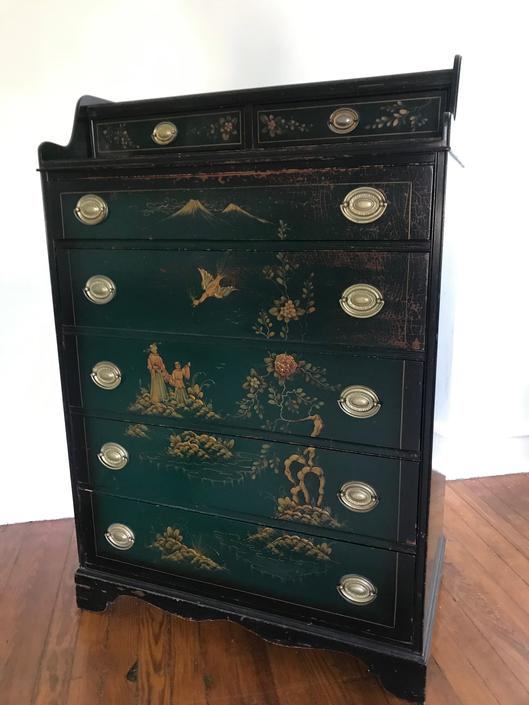 Vintage Chinese Tall Bureau Dresser Chinoiserie Painted by RavenPearVintage