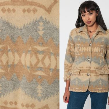 Ralph Lauren WOOL Jacket 90s Tribal Blanket Coat Southwest Aztec Tan Concho Button Bohemian 1990s Boho Hippie Southwestern Vintage Small by ShopExile