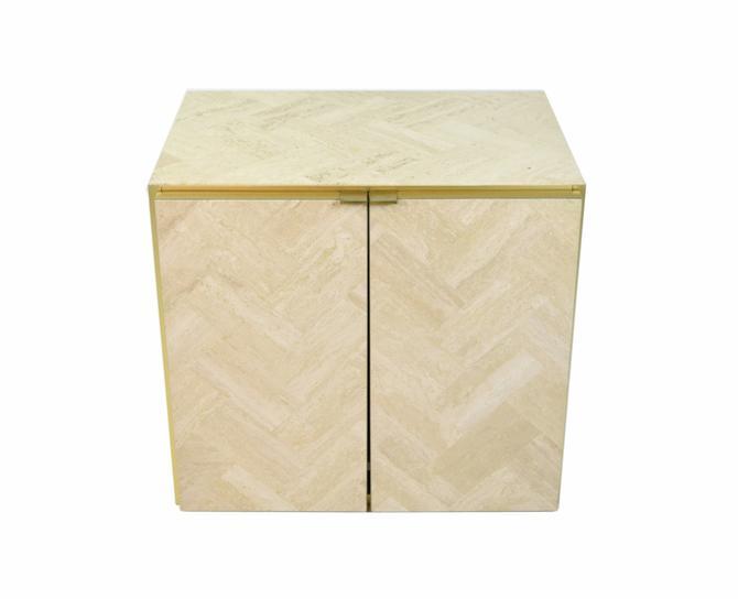 Vintage Ello Cabinet End Table Marble Travertine and Brass by PrairielandArt