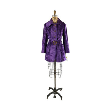 ON LAYAWAY   purple reign   vintage 1960s 1970s velvet trench coat   new   nos   vtg 60s 70s jacket   small/medium   s/m by danevintage