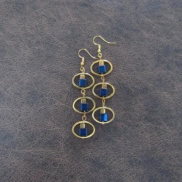 Long blue geometric earrings, mid century modern earrings, Brutalist earrings, bold statement earrings, unique brass hematite earrings by Afrocasian