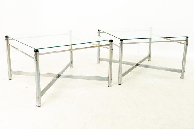 Milo Baughman Style Mid Century X Base Chrome and Glass Side End Tables - Pair - mcm by ModernHill