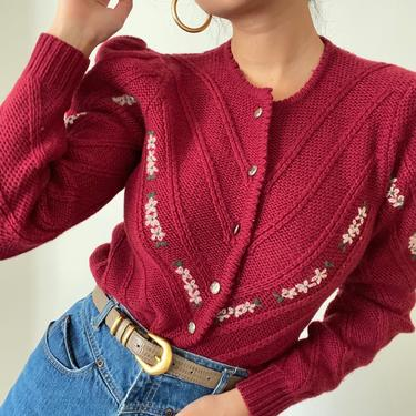 80s hand embroidered puff sleeve wool cardigan / vintage claret wool hand embroidered daisy cropped silver button puffed sweater   S by RecapVintageStudio