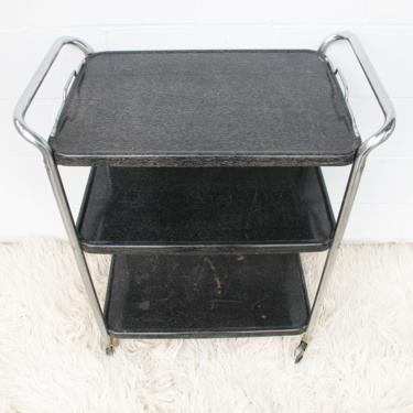 Black and White Midcentury Industrial Distressed Metal Rolling Utility Cart by PortlandRevibe