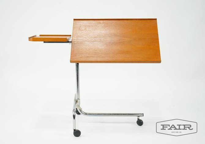 Adjustable Teak Music Stand/Table on Wheels