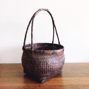 Vintage Japanese Ikebana Handwoven Basket by TheDistilleryVintage