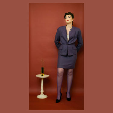 vintage 1990s unlabeled Mugler-style purple skirt suit by FlowerInTheMirror