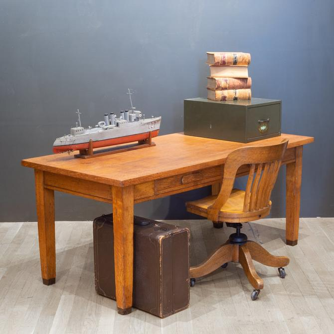 Solid Oak Two Drawer Desk by Standard Furniture Co. c.1940