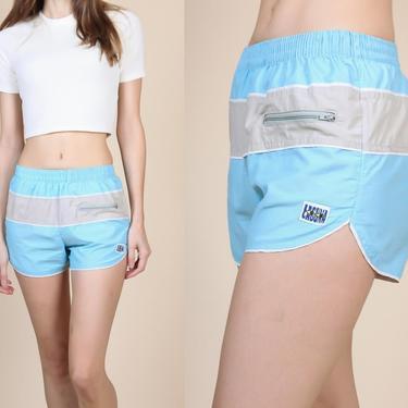 80s Laguna Swim Shorts Unisex - XS   Vintage Blue Grey Striped Retro Swimsuit Trunks by FlyingAppleVintage