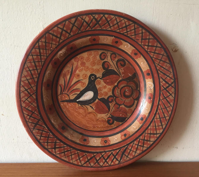 Vintage Mexican Hand Painted Hanging Plate by ModandOzzie