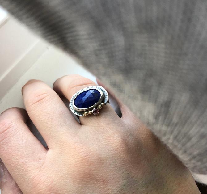 Sterling Silver Lapis and Pink Sapphire Cocktail Ring with 14k Gold by RachelPfefferDesigns