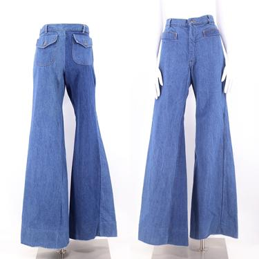 70s high waisted denim bell bottoms jeans 31  / vintage 1970s The New Line flares pants sz 6-8 by ritualvintage