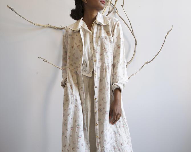 long floral linen duster dress by EELT