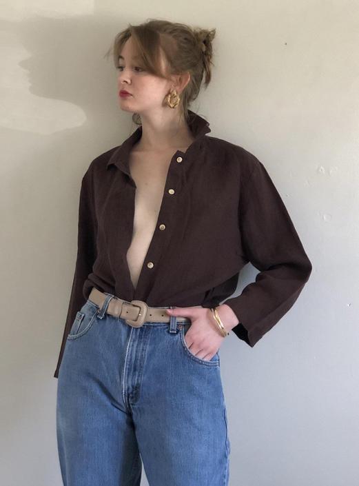 90s linen blouse / vintage brown woven linen blouse over shirt resort wear   M L by RecapVintageStudio