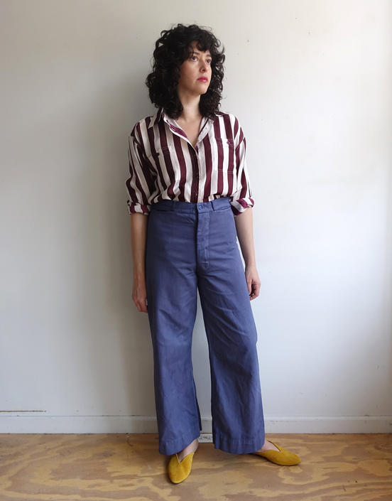 Vintage 70s Sailor Trousers/ 1970s Overdyed Button Fly White Sailor Pants/ Wide Leg Cropped High Waisted Cotton Twill/ Size 32 by bottleofbread