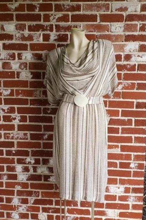 Vintage Tan White Stripe 80s  Woven Dress M/L Dolman Sleeve by FlashbackATX