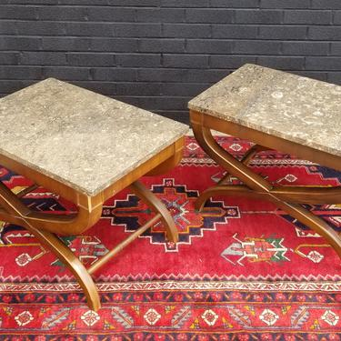 Pair of Drexel Side Tables, w/ composite stone tops.