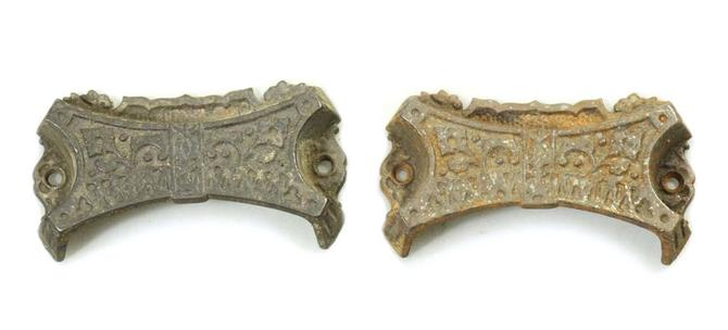 Pair of Victorian Cast Iron Drawer Bin Pulls