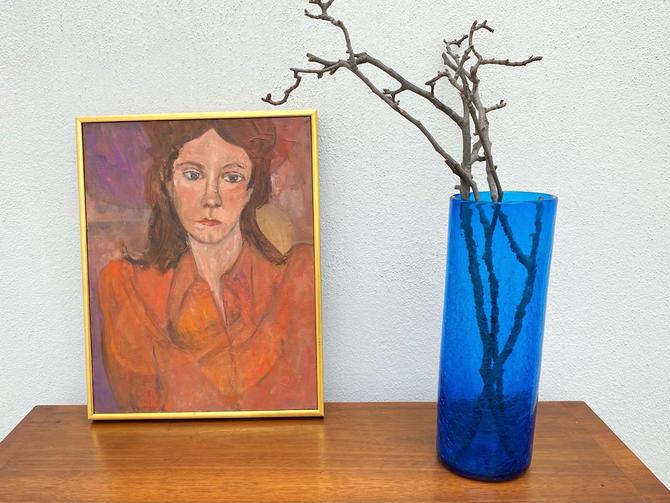 Blue Crackle Glass Blenko Vase