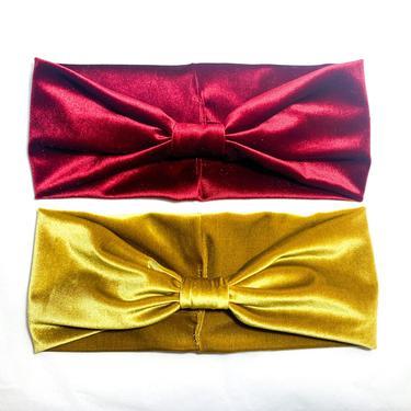 Velvet Headband *Bow Style* -  Burgundy / Red / Emerald / Brown / Mauve Black / Copper / Peach / Mauve   - Boho Thick Turban Creative by IrisAtelierCouture