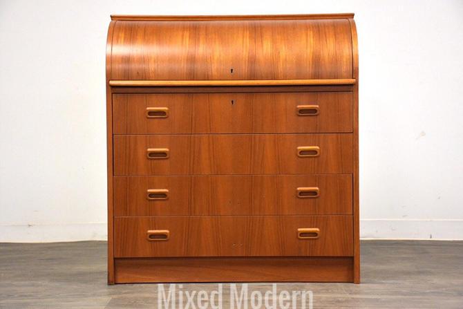 Modern Teak Drum Roll Secretary Desk by mixedmodern1