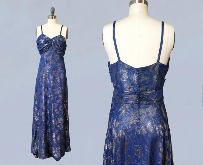1930s Dress / 30s Periwinkle and Silver Metallic LAMÉ Evening Gown / Ruched Bust / Low Button Back / Stunning!! by GuermantesVintage