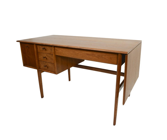 Walnut Desk Drexel Parallel  Barney Flagg Mid Century Modern by HearthsideHome