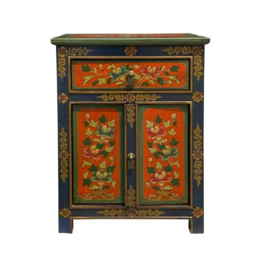 Tibetan Oriental Blue Orange Red Green Floral End Table Nightstand cs6956E by GoldenLotusAntiques