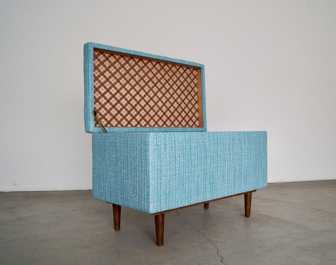 Mid-century Modern 1950's Chest / Trunk in Teal Vinyl! by CyclicFurniture