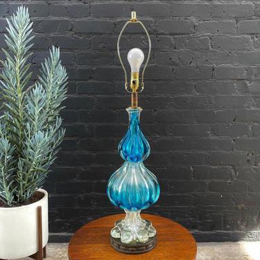 Mid-Century Modern Italian Blue Murano Table Lamp, c.1960's by VintageSupplyLA
