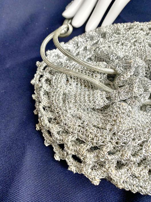 Silver Lurex Crocheted Bag, Drawstring Purse, Bucket Bag, Hippie, Vintage 70s by GabAboutVintage