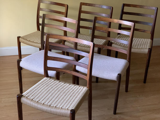 SIX Model No 85 Rosewood Dining Chairs Niels Otto Moller for J.L. Moller, Set of Six by ASISisNOTgoodENOUGH