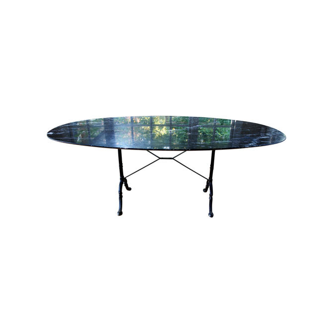 1950s French Cast Iron Base and Nero Marquina Knife-Edge Marble Top Bistro Table by MetronomeVintage
