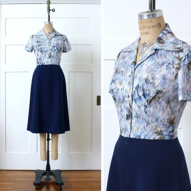 vintage 1970s polyester dress • navy blue & white abstract floral print shirtwaist dress by LivingThreadsVintage