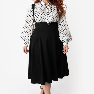 Unique Vintage Plus Size Black Amma Suspender Swing Skirt