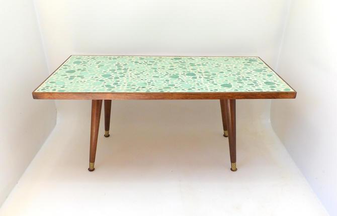 Petite Mid Century Modern Coffee Table Rectangle Aqua Green Mosaic Stone Walnut Cobblestone Tile Geometric Minimalist Pattern Entryway Hall by MakingMidCenturyMod