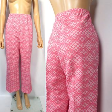 Vintage 70s Neon Hot Pink Abstract Print High Waist Polyester Elastic Waist Pants Size M by VelvetCastleVintage