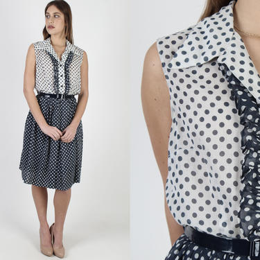 Vintage 70s Navy Blue Tuxedo Ruffle Dress / Button Up Polka Dot Dress / Wide Butterfly Collar / Americana Country Fair Mini Dress by americanarchive