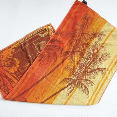 Vintage 70s Pool Towel - 1970s Orange Yellow Palm Tree Sunset Island Sail Boat Beach Towel - Terrycloth Towel Vintage by MILKTEETHS